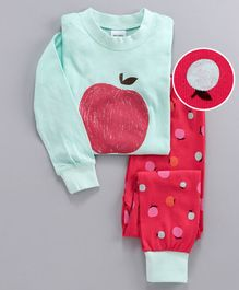 Unicorns Apple Print Full Sleeves Night Suit - Blue & Pink