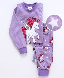 Unicorns Printed Full Sleeves Night Suit - Purple