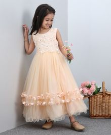 Mark & Mia Sleeveless Layered Party Frock With Floral Embroidered Bodice - Peach