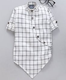 Dapper Dudes Full Sleeves Asymmetrical Button Up Checked Kurta - White