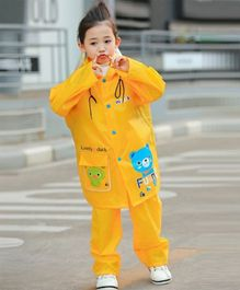 Pre Order - Awabox Bear Print Full Sleeves Hooded Raincoat & Bottom - Yellow