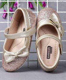 Cute Walk by Babyhug Party Wear Belly Shoes Bow Appliques - Golden Pink