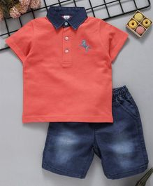 ToffyHouse Half Sleeves Polo Neck Tee & Denim Shorts - Orange