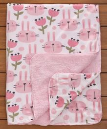 Babyhug Mink & Fleece Blanket Bunny Design - Light Pink