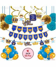 Party Propz Prince Theme Half Birthday Party Decoration Pack of 66 - Multicolor