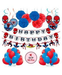 Party Propz Spider Man Theme Party Decoration Set Red Blue - Pack of 66