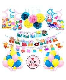 Party Propz Peppa Pig Theme Party Decoration Set Multicolor - Pack of 67