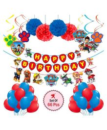 Party Propz Paw Patrol Theme Party Decoration Set Red Blue - Pack of 66