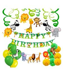 Party Propz Jungle Theme Party Decoration Set Green Yellow - Pack of 66
