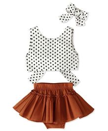 Pre Order - Awabox Polka Dot Print Sleeveless Bow Knot Top & Skirt With Head Band - White