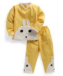 Kids Clan Rabbit Applique Full Sleeves Night Suit - Yellow