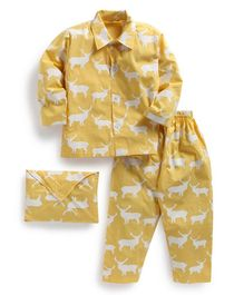 Kids Clan Deer Print Full Sleeves Night Suit With Pouch - Yellow