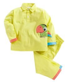 Kids Clan Parrot Patch Full Sleeves Night Suit - Yellow