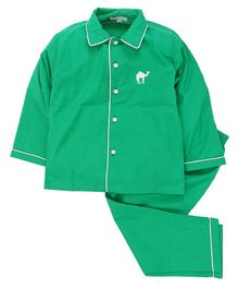 Kids Clan Camel Embroidered Collar Style Full Sleeves Night Suit - Green