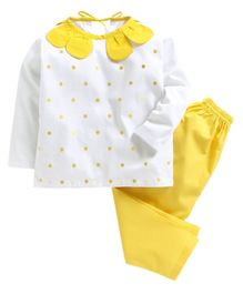 Kids Clan Polka Dot Print Full Sleeves Night Suit - Yellow