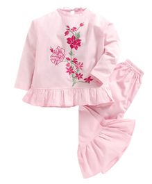 Kids Clan Flower Embroidered Full Sleeves Night Suit - Pink