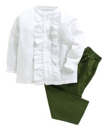 Kids Clan Ruffled Style Full Sleeves Night Suit - White & Green