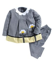 Kids Clan Full Sleeves Scallop Trim Collar Neck Checked Night Suit - Black