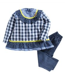 Kids Clan Full Sleeves Checked Polka Dot Print Night Suit - Dark Blue