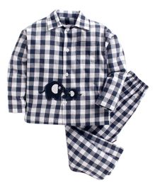 Kids Clan Full Sleeves Checked Elephant Patch Night Suit  - Navy Blue