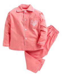 Kids Clan Full Sleeves Horse Embroidered Front Pocket Night Suit - Peach