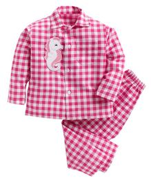 Kids Clan Full Sleeves Checked Seahorse Patch Night Suit - Dark Pink