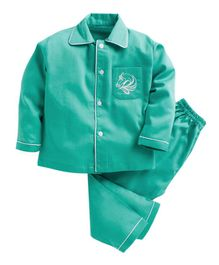 Kids Clan Full Sleeves Horse Embroidered Front Pocket Night Suit - Green