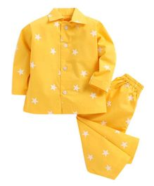 Kids Clan Full Sleeves Star Print Night Suit - Yellow