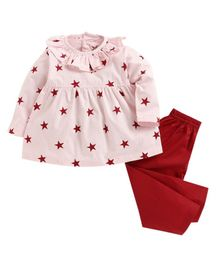 Kids Clan Full Sleeves Star Print Frock Style Night Suit - Light Pink & Maroon