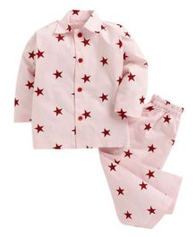 Kids Clan Full Sleeves Star Print Night Suit - Pink