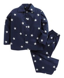 Kids Clan Full Sleeves Star Print Night Suit - Navy Blue