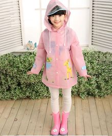 Awabox Deer & Tortoise Printed Full Sleeves Raincoat - Pink
