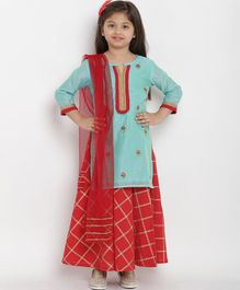 Bitiya By Bama Flower Embroidered Full Sleeves Kurta With Palazzo & Dupatta - Sea Green & Red