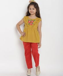 Bitiya By Bhama Flower Embroidered Cap Sleeves Top & Pant Set - Yellow & Red