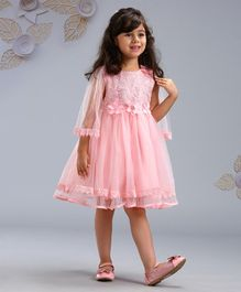 Mark & Mia  Full Sleeves Floral Embroidered Party Frock - Pink