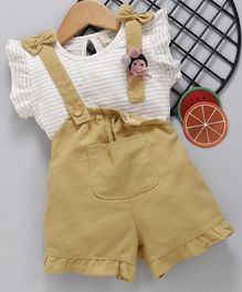 Kookie Kids Solid Dungaree With Inner Striped Top - Mustard Yellow