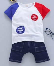 Kookie Kids Half Sleeves Tee With Shorts - White Blue