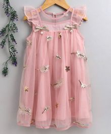 Kookie Kids Sleeveless Party Wear Frock Floral Sequin Embellishment - Peach