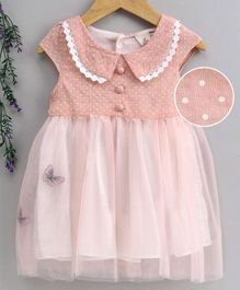 Kookie Kids Cap Sleeves Frock Butterfly Embroidered - Peach