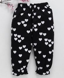 Lekeer Kids Full Length Harem Pants Heart Print - Black