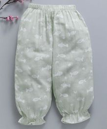 Lekeer Kids Full Length Harem Pants Fish Print - Light Green