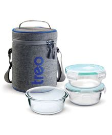 Treo by Milton All Fresh Borosilicate Glass Tiffin Lunch Box 3 Round Containers Grey - 380 ml
