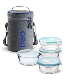 Treo by Milton All Fresh Borosilicate Glass Tiffin Lunch Box 4 Round Containers Grey - 380 ml