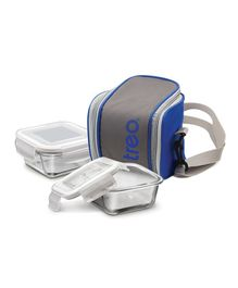 Treo by Milton Borosilicate Glass Lunch Box Set of 2 With Bag - White Grey