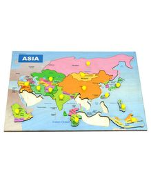 RK Cart Asia Map Wooden Puzzle Board Multicolour - 14 Pieces