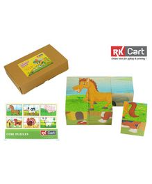 RK Cart Farm Animals Wooden Cube Puzzles Multicolour - 6 Pieces