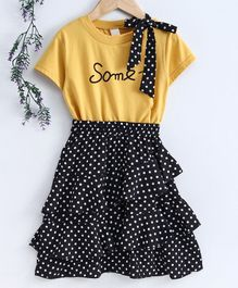 Kookie Kids Half Sleeves Top & Skirt Polka Dot Print - Black Yellow