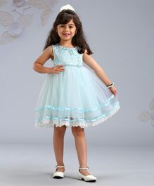 Mark & Mia Sleeveless Party Frock Floral Corsage - Light Blue