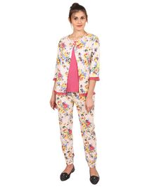 9teenAGAIN Floral Print Three Fourth Sleeves Maternity Night Suit - Pink & Beige