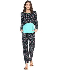 9teenAGAIN Floral Print Full Sleeves Maternity Night Suit - Black & Light Blue
